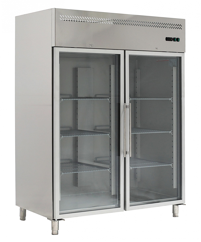 Armadio frigo refrigerato in acciaio inox 2 ante in vetro ...