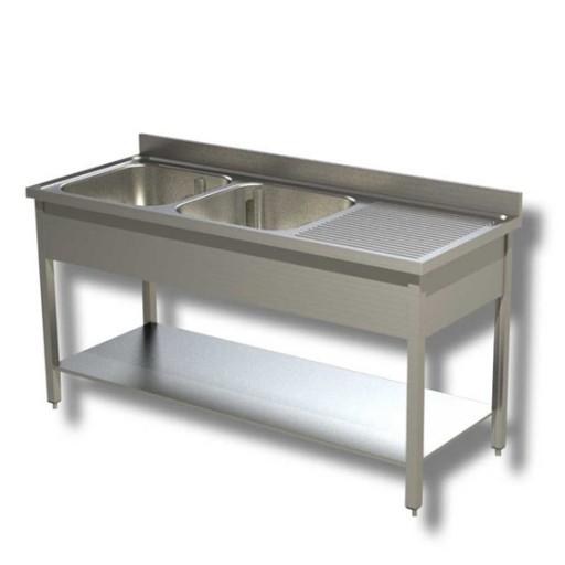 Lavello in acciaio inox 140x70x85h cm 2 vasche con ...