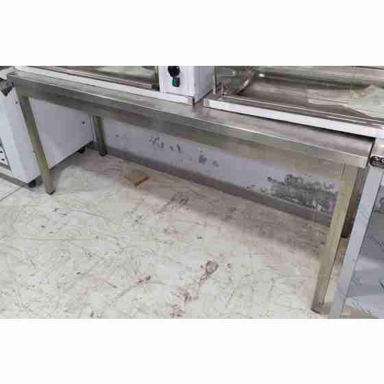 Tavolo in acciaio inox 180x60x95h cm su gambe con alzatina usato