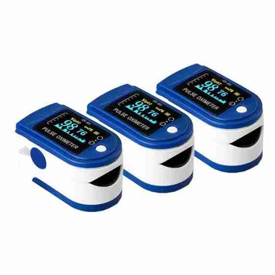 3x Pulsossimetro, ossimetro, saturimetro, misuratore di ossigeno da dito con sonda di temperatura con schermo Oled a 2 colori