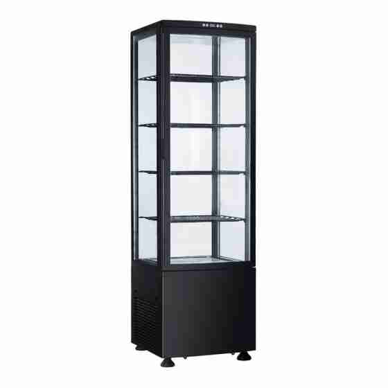 Frigo vetrina bibite pasticceria refrigerata 4 lati in vetro nera 235 lt 0 +12 °C 51,5x48,5x169h cm