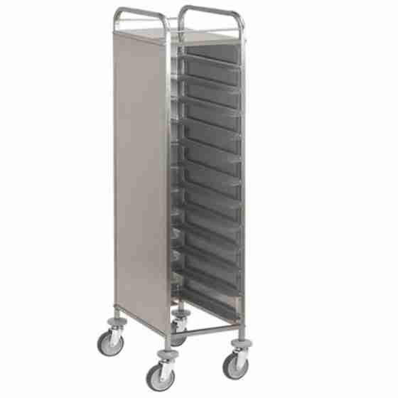Carrello con contenitore Gastronorm 12 Teglie con pannelli in acciaio su 3 lati