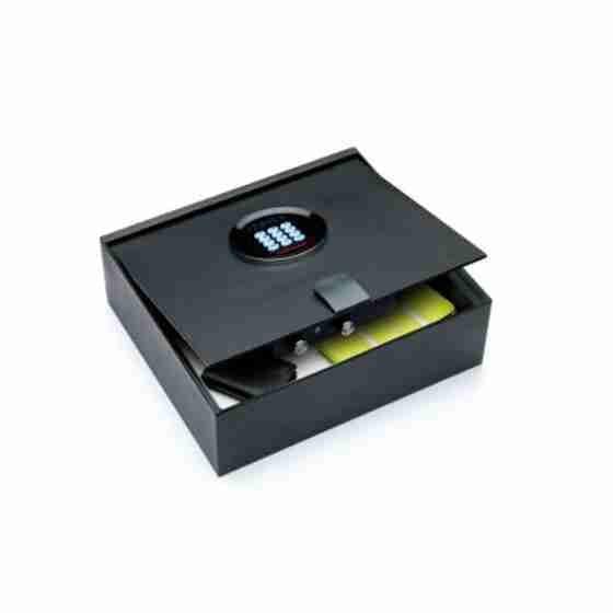 Cassaforte a mobile con serratura elettronica digitale motorizzata con apertura verso l'alto.