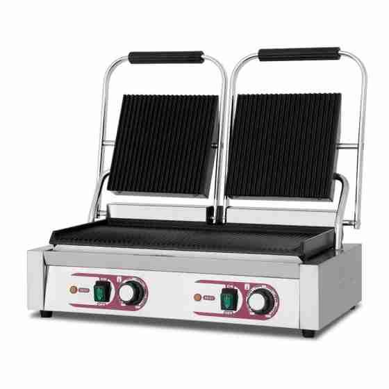 Piastra panini doppia Rigata / Rigata 565x365x210h mm per Bar Pub Ristorante