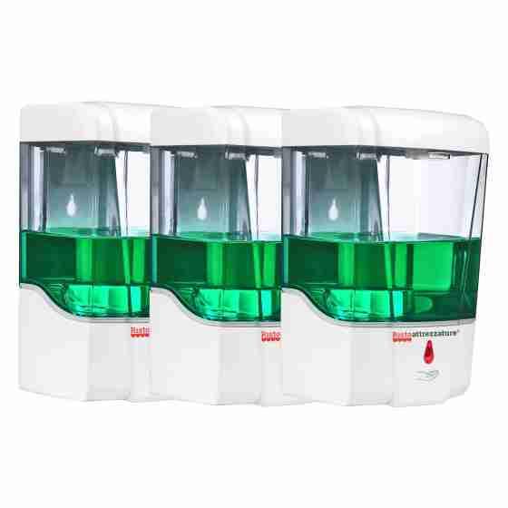 3x Dispenser a parete automatico con sensore ad infrarossi per igienizzante e sapone a batterie da 700 ml