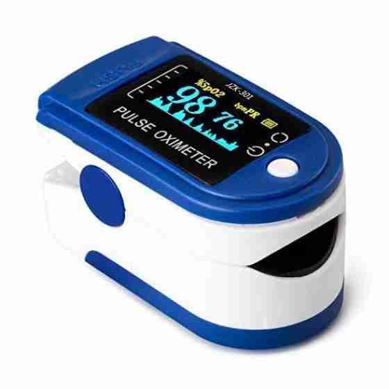 Pulsossimetro, ossimetro, saturimetro, misuratore di ossigeno da dito con sonda di temperatura con schermo Oled a 2 colori