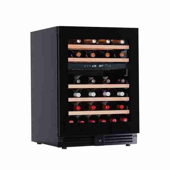 Cantinetta per vini refrigerazione ventilata da banco 46 bottiglie doppia zona di temperatura +2 +12 °C/ +12 +20 °C 595x573x820h mm