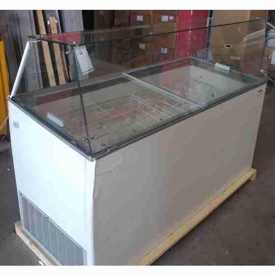 Banco vetrina gelati vetri dritti 14 gusti refrigerazione statica 165,4x68,7x122,9h cm -16 -24°C nuovo danneggiamento da trasporto