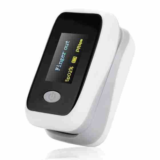 Pulsossimetro, ossimetro, saturimetro, misuratore di ossigeno da dito con sonda di temperatura con schermo Oled 2 colori