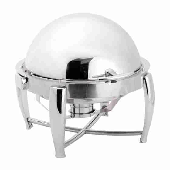 Chafing dish con coperchio rotondo GN 1/1 con coperchio ribaltabile 90°/180° supporto riscaldatore 6 lt 600x600x395 h mm