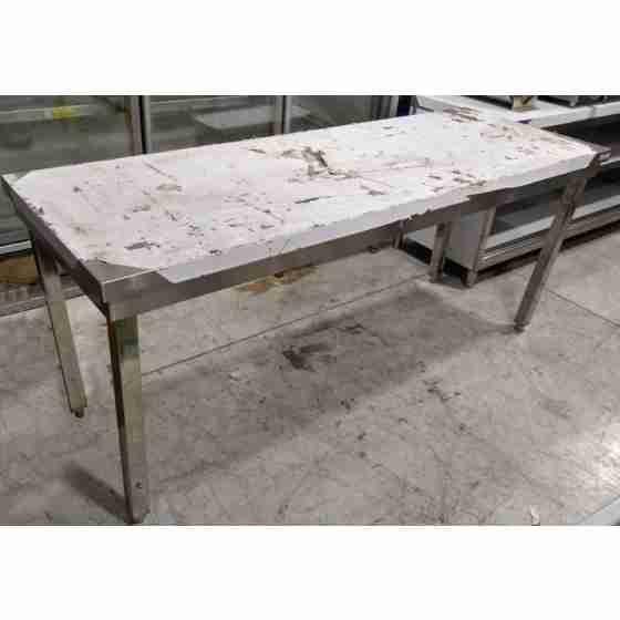 Tavolo su gambe senza ripiano in acciaio inox 200x70 cm usato