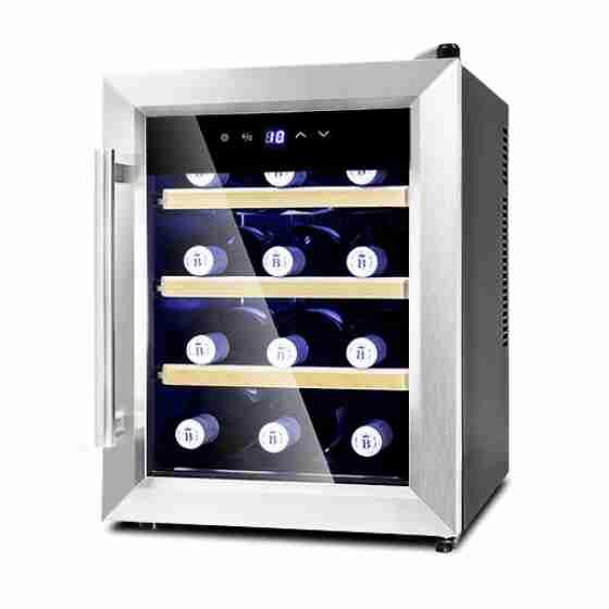 Cantinetta termoelettrica per vini refrigerazione statica rifiniture porta in acciaio 12 bottiglie +10 +18°C 34,5x55x48,2h cm