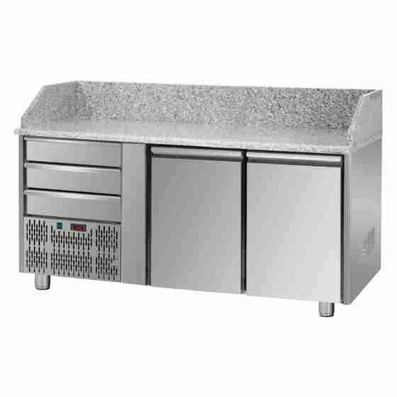 Tavolo Refrigerato Pizza GN 1/1 con 2 porte, gruppo motore a sinistra, 3 cassetti neutri e piano in granito