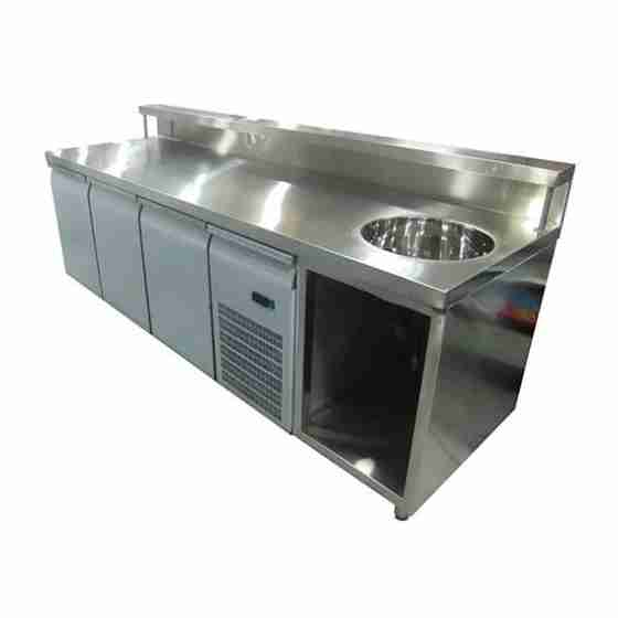 Banco Bar Refrigerato in acciaio inox con 3 porte frigo con lavabo a destra e sportelli 2600 x 700 x 1100 h mm