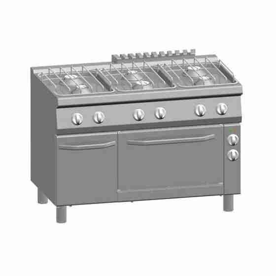 Cucina a Gas 6 Fuochi + Forno Elettrico Ventilato 1/1 GN + Vano con Porta