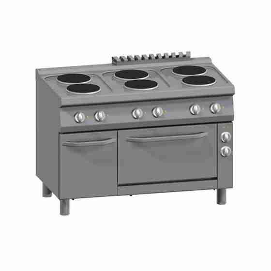 Cucine 6 Piastre Elettriche + Forno Elettrico Ventilato 1/1 GN + Vano con Porta