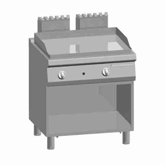 Piastra Fry top acciaio inox professionale gas Liscio Acciaio Dolce + Vano 12 Kw