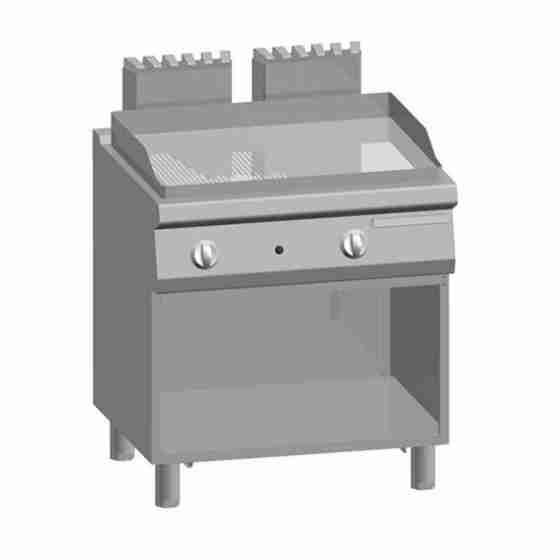 Piastra Fry top acciaio inox professionale gas 1/2 Liscio 1/2 Rigato Acciaio Dolce Top