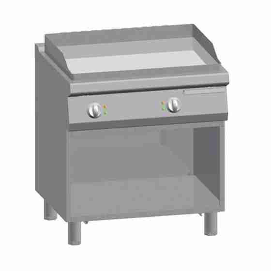 Piastra Fry top acciaio inox professionale elettrico su Vano Liscio Acciaio Dolce + Vano