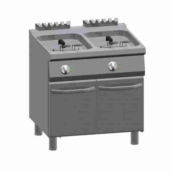 Friggitrice Elettrica professionale doppia in acciaio inox 1 modulo 10+10 lt
