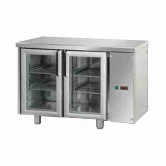 Tavolo Refrigerato GN 1/1 con 2 porte in vetro predisposto per unità frigorifera remota