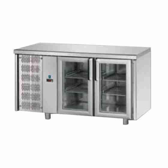 Tavolo Refrigerato GN 1/1 con 2 Porte in vetro e Motore a sinistra