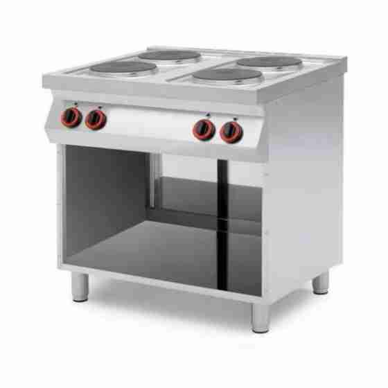Cucina professionale elettrica a 4 piastre con vano aperto Trifase