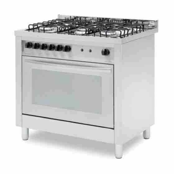 Cucina professionale a gas 5 fuochi con forno a gas ventilato 4 teglie