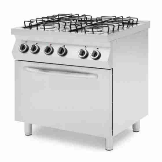 Cucina professionale a gas 4 fuochi con forno a gas 4 teglie GN 1/1