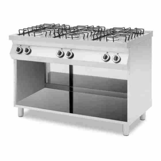 Cucina professionale a gas 6 fuochi con vano aperto potenza fuochi 25,5 kW