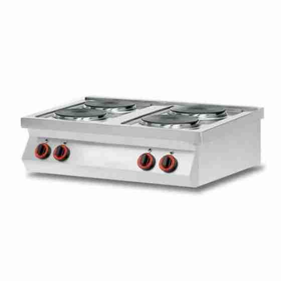 Cucina elettrica 4 piastre da banco in acciaio inox AISI 304