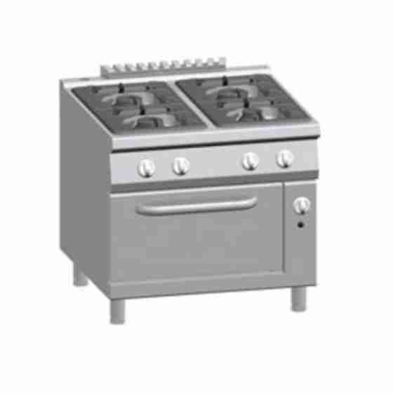 Cucina a gas con 4 fuochi con forno 2/1 GN S/90