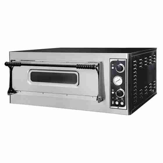 Forno elettrico pizzeria per pizza meccanico 1 camera interna da 720x720x140h mm - 4 pizze - PORTA IN VETRO