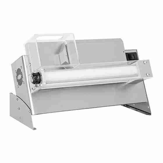 Stendipizza professionale con pedale elettrico di serie in acciaio da banco per pizze dal diametro 14-30 cm