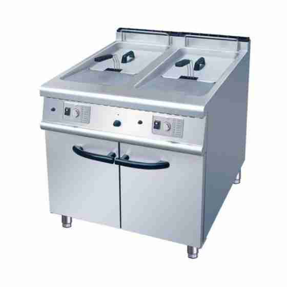 Friggitrice a gas professionale in acciaio inox su mobile capacità 21+21 lt S/70