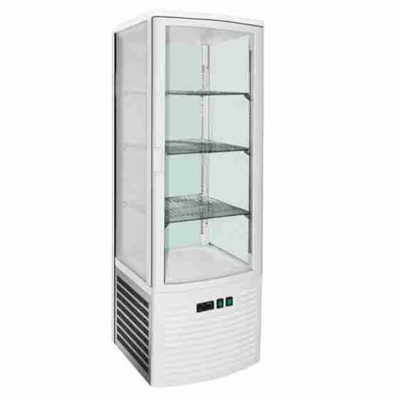 Vetrina Bibite Pasticceria Bar Gelateria espositiva in accaio inox 4 lati refrigerazione ventilata su 3 ripiani