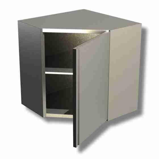 Pensile in acciaio inox ad angolo con porta a battente altezza 65 cm