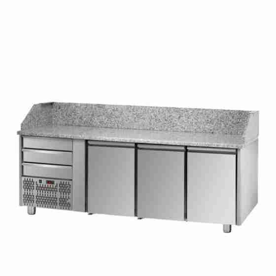 Tavolo Refrigerato Pizza GN 1/1 con 3 porte, gruppo motore a sinistra, 3 cassetti neutri e piano in granito