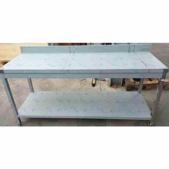 Tavolo su gambe con ripiano e alzatina 180x60x85h cm nuovo danneggiamento da trasporto