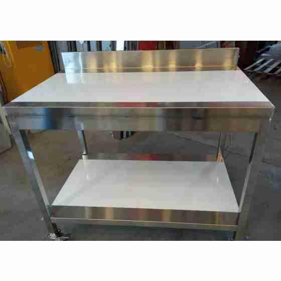 Tavolo in acciaio inox 110x70x95h cm su gambe con piano di fondo e alzatina EC nuovo danneggiamento da trasporto