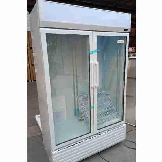 Frigo vetrina bibite verticale refrigerata 2 ante battenti in vetro +0 +10 °C 810 lt 119x66x202h cm nuovo danneggiamento da trasporto