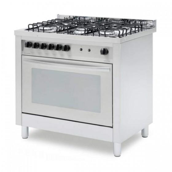 Cucina Professionale A Gas 5 Fuochi Con Forno A Gas Ventilato 4 Teglie Profondita 60 Cm A Gas Cucine Professionali Cottura Professionale Ristoattrezzature