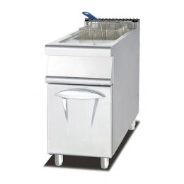 Friggitrice a gas  su mobile singola vasca capacità 28 litri su vano chiuso S/90 40x90 cm