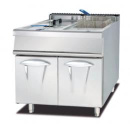Friggitrice a gas su mobile doppia vasca capacità 28 + 28 litri su vano chiuso S/90 80x90 cm