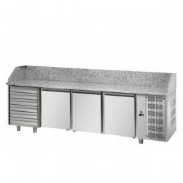 Banco Pizzeria con 3 porte, 6 cassetti 2710x800x1030h mm