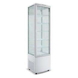 Frigo vetrina bibite pasticceria refrigerata 4 lati in vetro bianca 270 lt 0 +12 °C 51,5x48,5x189,5h cm
