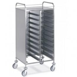 Carrello con contenitore Gastronorm 24 Teglie con pannelli in acciaio su 3 lati