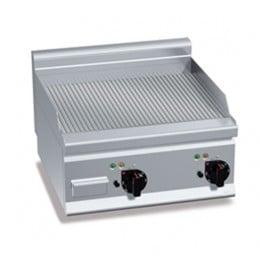 Piastra Fry top acciaio inox professionale elettrico da banco piano Rigato S/70