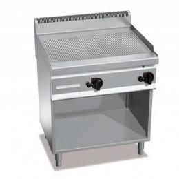 Piastra Fry top acciaio inox professionale elettrico su mobile piano Rigato S/70