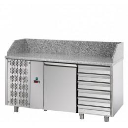 Tavolo Refrigerato Pizza GN 1/1 con 1 porta, gruppo motore a sinistra, 6 cassetti neutri e piano in granito